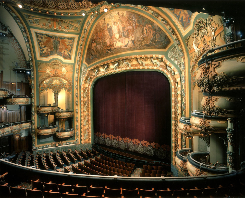 View of the beautifully restored proscenium arch of the New Amsterdam Theatre. Credit: The Walt Disney Company