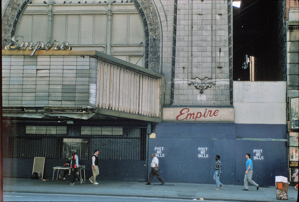 The Empire Theatre, circa 1992. Through the work of the 42nd Street Development Project and the Office of Midtown Enforcement, business were gradually condemned and closed out along 42nd Street, which lead to a dramatic drop in crime. Credit: Peter Aaron/Otto for Robert A.M. Stern Architects