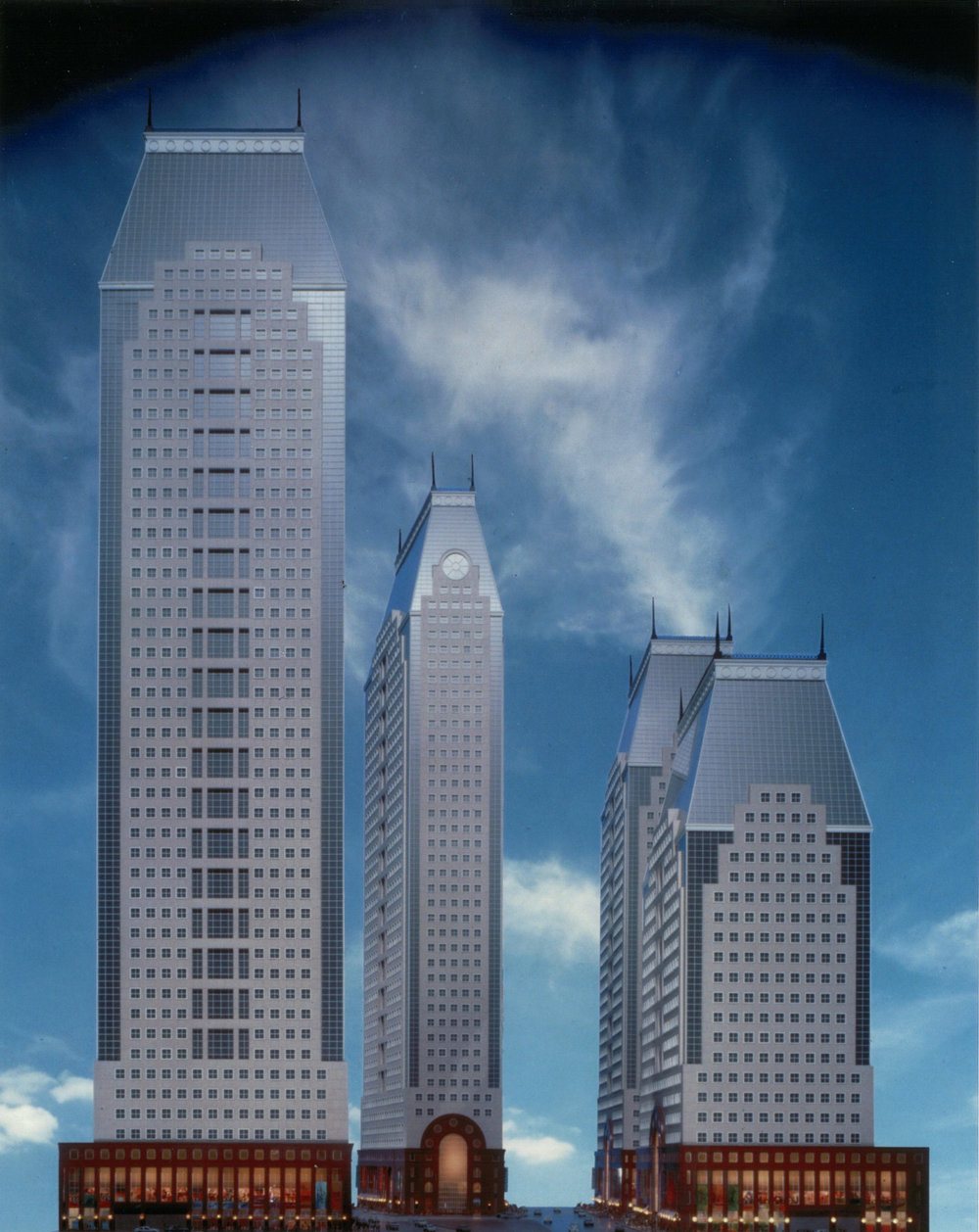 Original designs for the office tower developments that were set to anchor the project on east side of 42nd Street. The buildings were designed by architects Philip Johnson and John Burgee for Park Tower Realty. Credit: Park Tower Realty and Thorney Lieberman