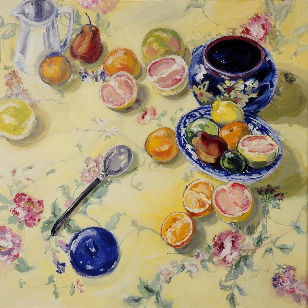 Cookie Jar with Grapefruits & Oranges