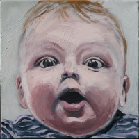 """March 2011 - Leona's portrait,Sasha,is accepted to New Haven Paint & Clay's 110th Anual Juried Exhibition at John Slade Ely House Center for Contemporary Art.Sasha,12""""x12"""", Acrylics/Canvas"""