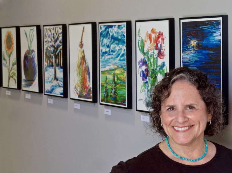 """April 2017 - The Westport Library hosts an exhibit of Leona's iPhone drawings, called """"iDraw"""