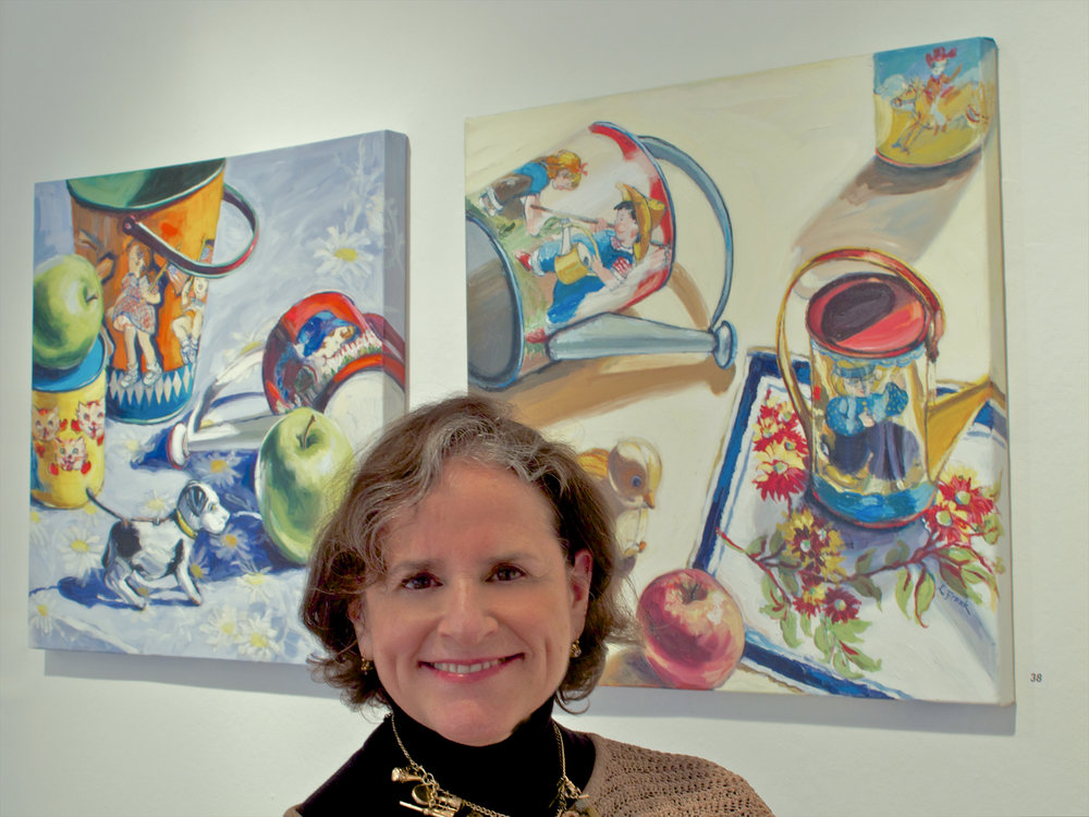 April 2014 - Two of Leona's vintage toy still lifes are accepted into New Haven Paint &Clay's 113th Annual Juried Open Exhibition by juror Douglas Hyland, Director of the New Britain Museum of American Art.