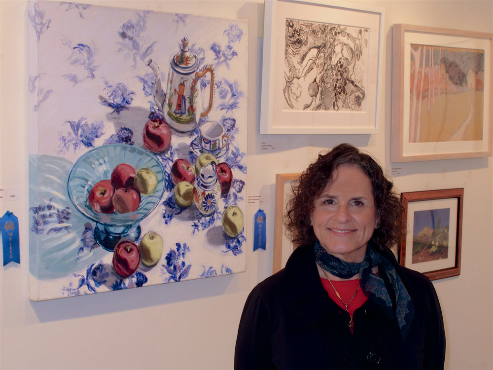 """September 2011 - Leona's painting,""""Quimper & Apples""""is awarded First Prize in Acrylics in the 17th Annual Mavis Fenner Juried Exhibition at Rowayton Arts Center, Rowayton, CT."""