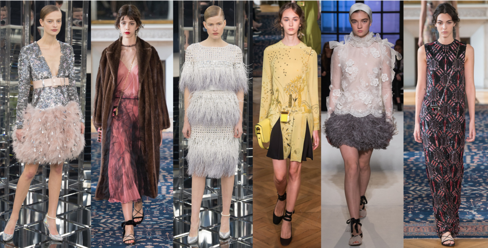 Left to Right: Chanel Couture SS17, Valentino RTW SS17, Chanel Couture SS17, Valentino RTW SS17, Giambattista Valli Couture SS17, Valentino RTW SS17