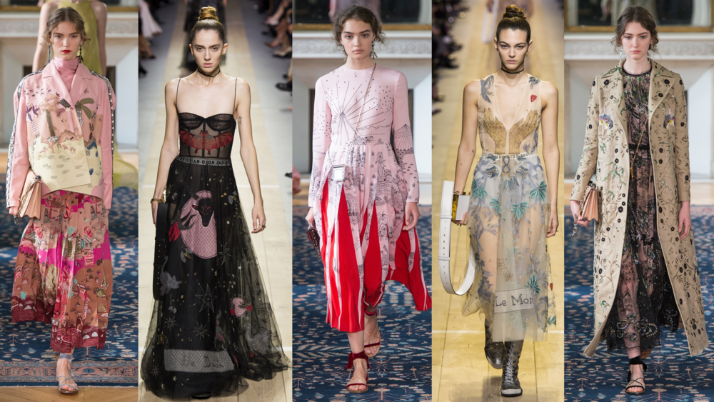 Left to Right: Valentino RTW SS17, Dior RTW SS17, Valentino RTW SS17, Dior RTW SS17, Valentino RTW SS17