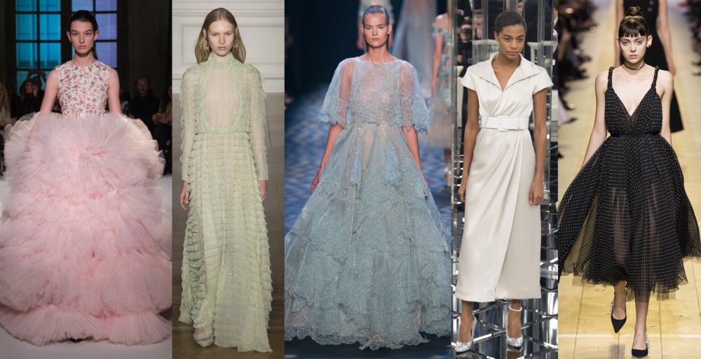 Left to Right: Giambattista Valli Spring 17 Couture, Valentino Spring 17 Couture, Marchesa RTW SS17, Chanel Spring 17 Couture, Dior RTW SS17