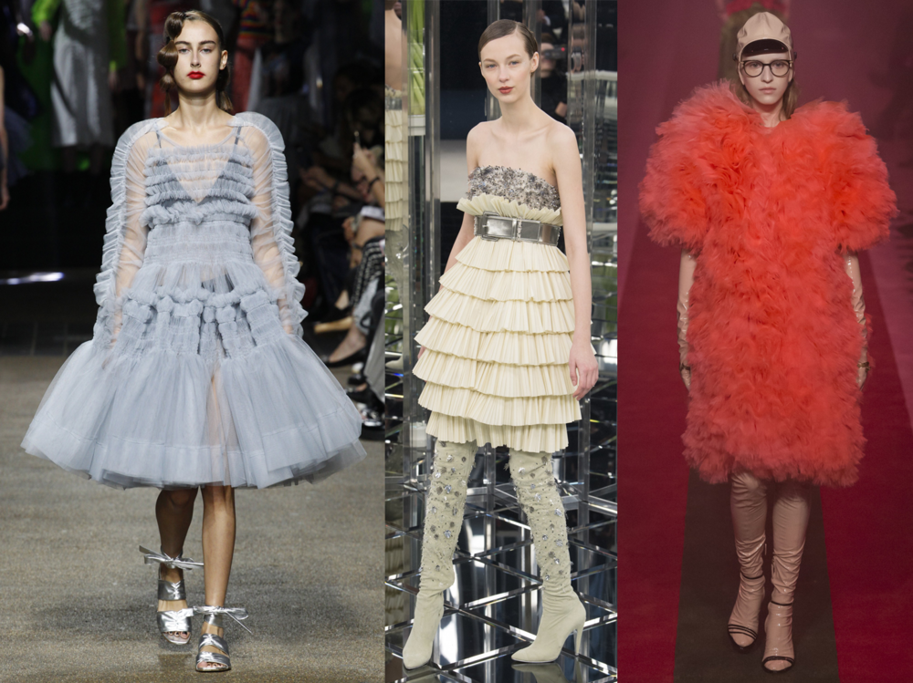 Left to Right: Molly Goddard RTW SS17, Chanel Spring 17 Couture, Gucci RTW SS17