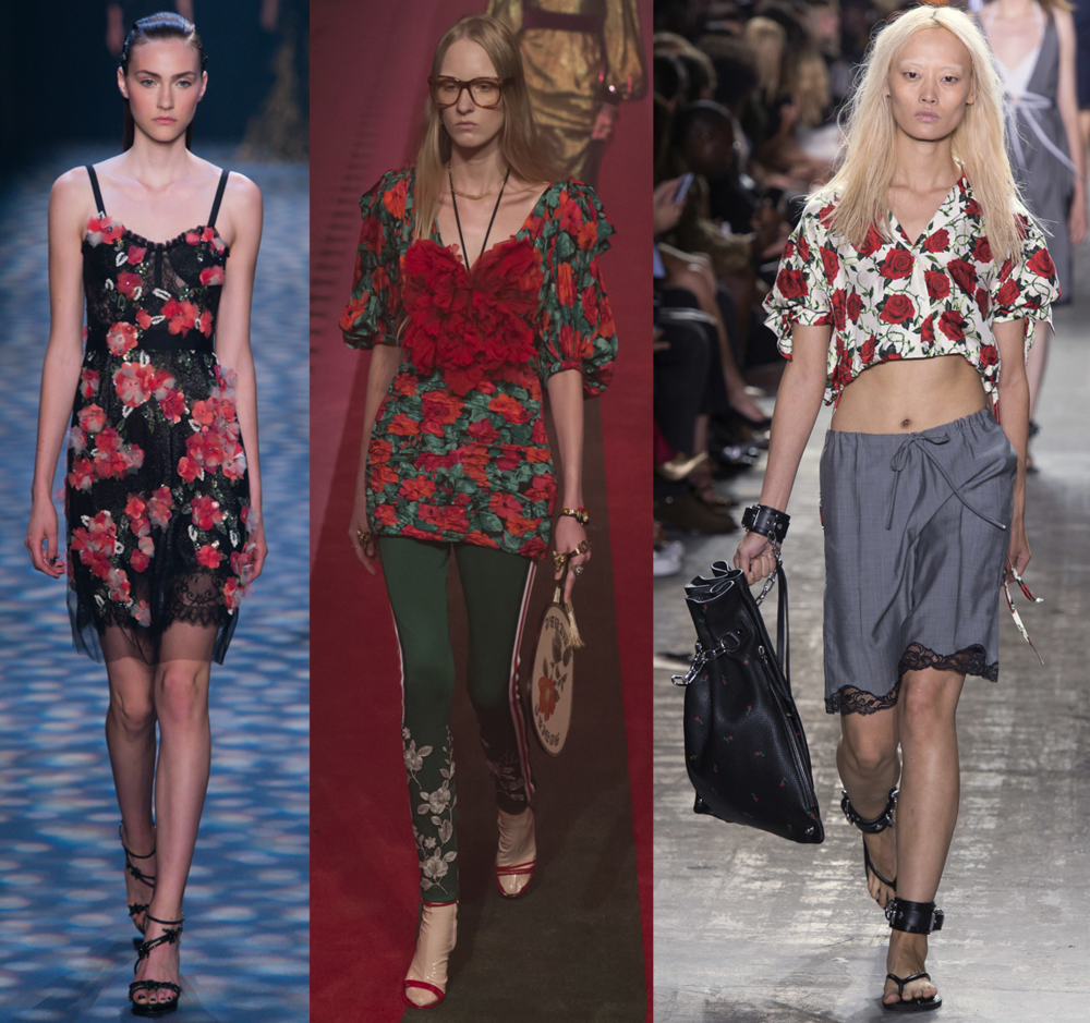 Left to Right: Marchesa RTW SS17, Gucci RTW SS17, Alexander Wang RTW SS17
