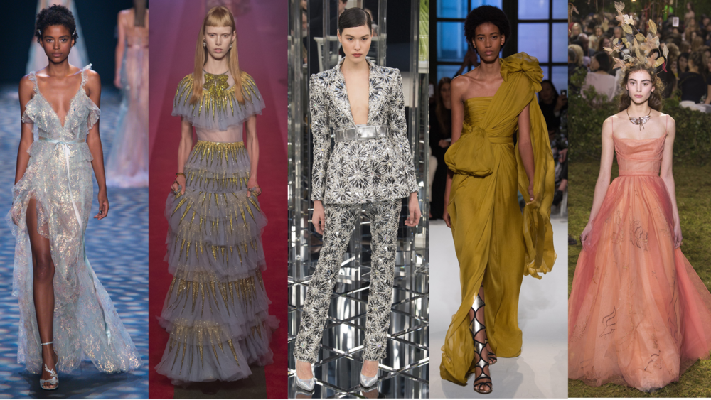 Left to Right: Marchesa RTW SS17, Gucci RTW SS17, Chanel Spring 17 Couture, Giambattista Valli Spring 17 Couture, Dior Spring 17 Couture