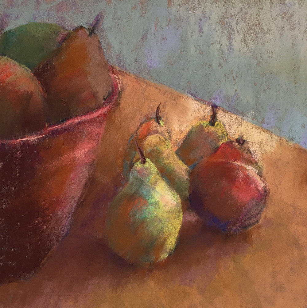 Five pears with fruit bowl.