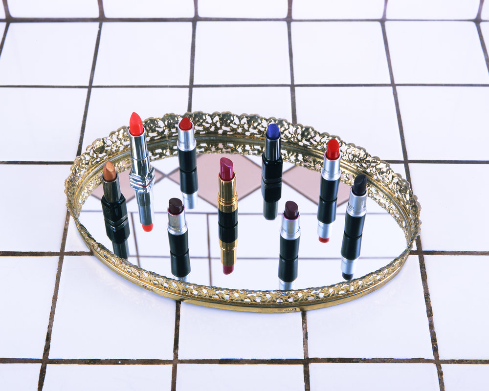 Lipstick on Mirrored Vanity Tray