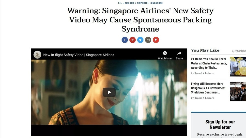 "TRAVEL & LEISURE - SINGAPORE AIRLINES ""IN FLIGHT SAFETY VIDEO""CHECK IT OUT"