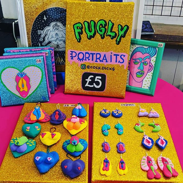 I'm all set up at @the_crofters_rights for @girlgangartshow come on down and get your fugly portraits!! 😍 🥴🥺🤪 We've for zine making with @phoebekitcherart and tarot reading with Vander too!  #fugly #uglyportrait #girlbossparty #art #artistofinstagram #creativegirlgang #glitter #vulva #dick