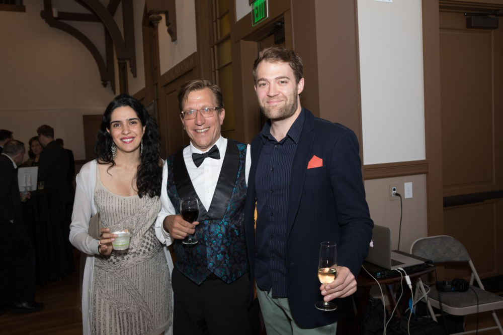 Kai Christiansen pictured center with artistic directors Meena Bhasin and Owen Dalby