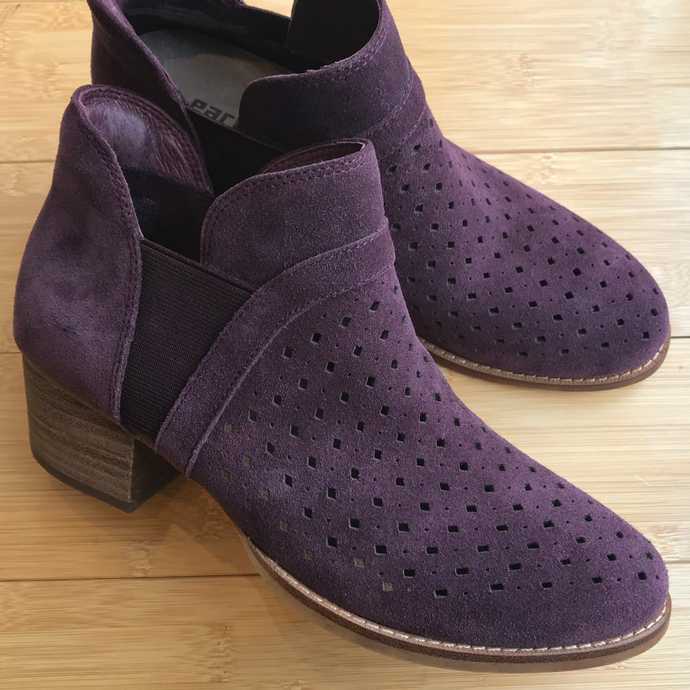 Momma needs a new pair of shoes - These pretty plum suede ankle boots are a steal at 40% OFF. Clad In Shoes and Clothing, 152 Water Street.