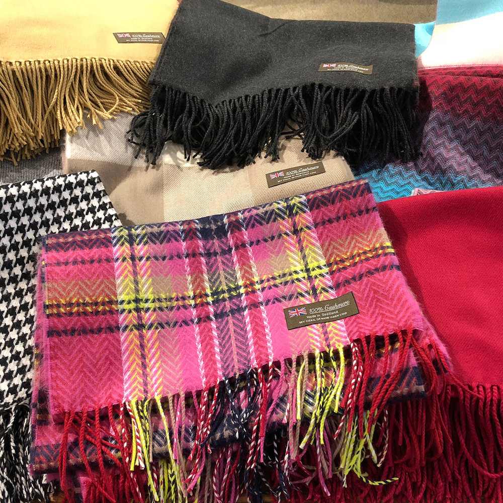 When the weather outside is frightening - Cozy cashmere scarves for him or her. $24.50 each or 5 for $100. Available at Fun Company Sample Outlet, 71 Cutler Street.