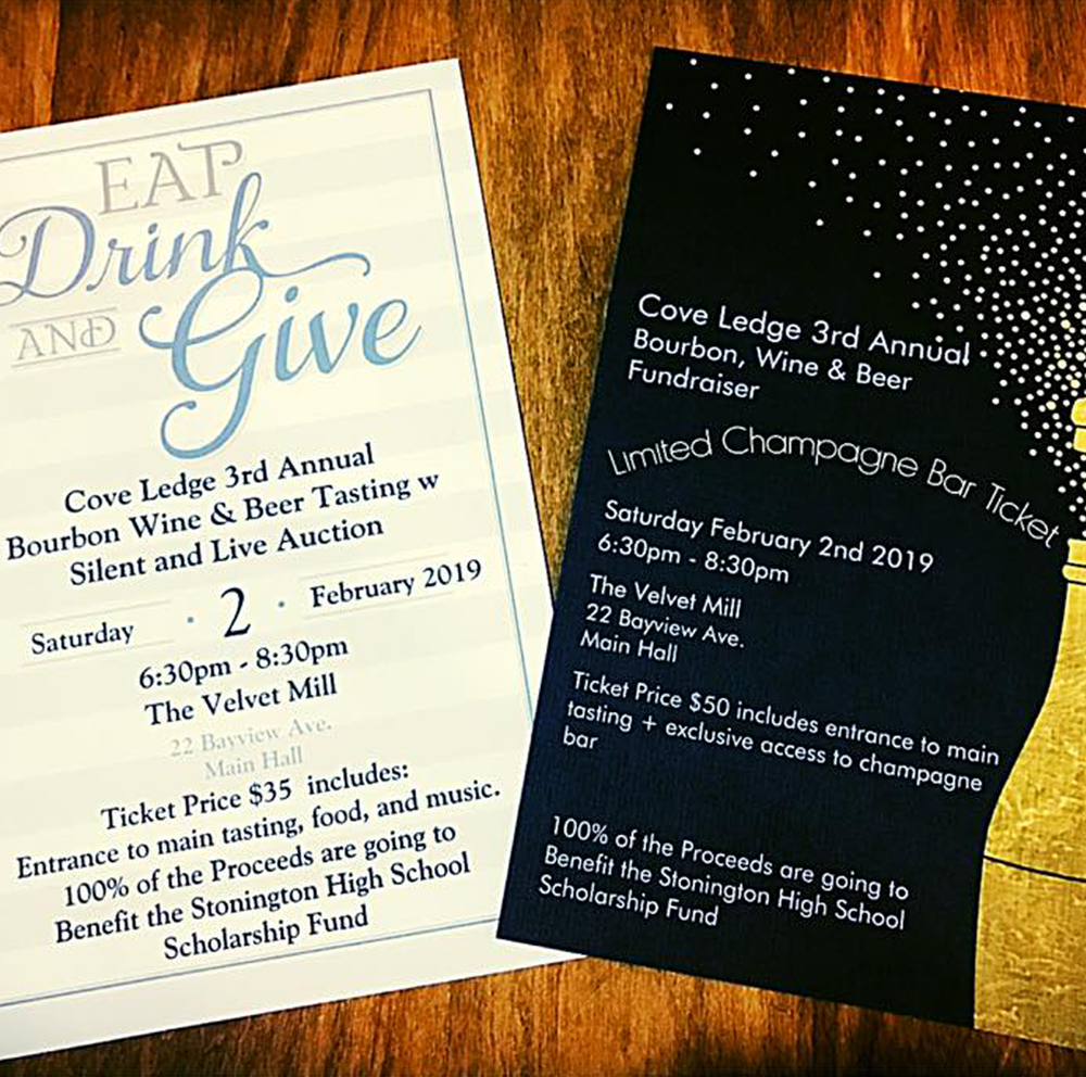 Holiday spirit(s) - Tackle your gift list and give back too. Tickets for Cove Ledge's 3rd Annual Bourbon, Wine & Beer Fundraiser are on sale now. $35 and $50, cash and checks accepted in-store. 804 Stonington Road.