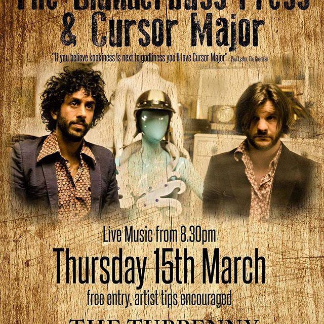Out of hiding, Cursor Major will be playing an 'unplugged' eve with the @the_blunderbuss_press at The Tuppenny, Swindon, Thursday March 15th.