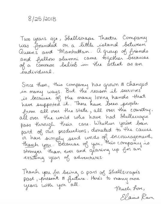 Letter from Elaine