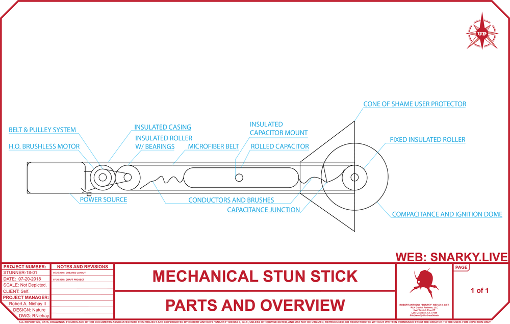 Mechanical Stun Stick - This is a mechanic stun stick design I am working on based on recent projects from electroboom.  This is just an image of some of the drawing. I hope to expand these types of projects in the future.