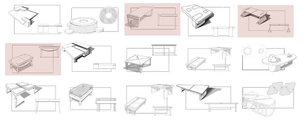 For the first round of ideation, we chose to focus on designing a coffee table that could be assembled by slotting the components together without requiring additional fasteners. We also played with modular concepts and tables with built-in storage.