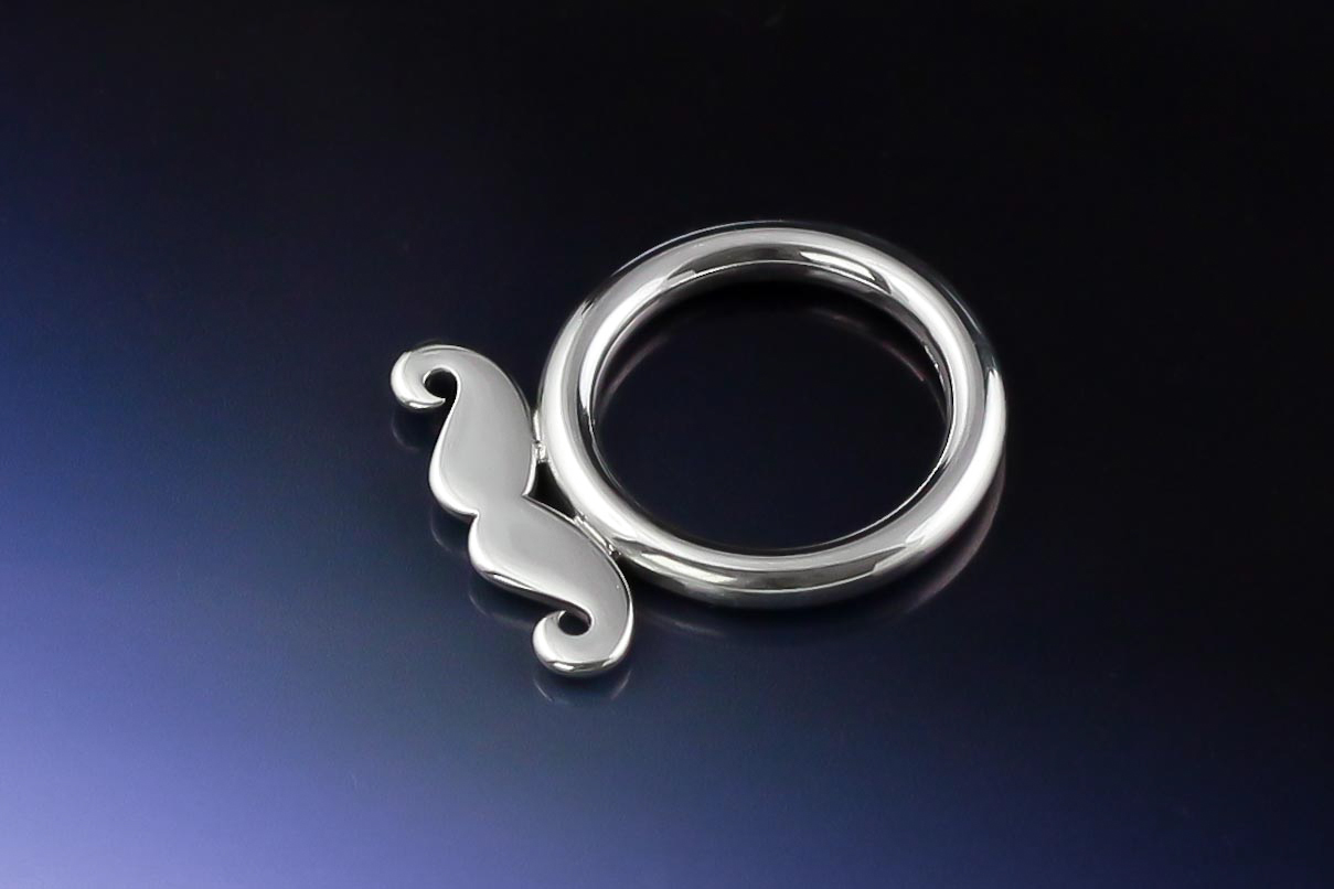 Sterling silver moustache ring