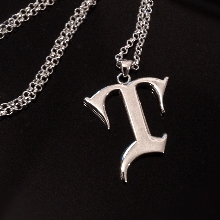 Custom silver inital necklace T-2
