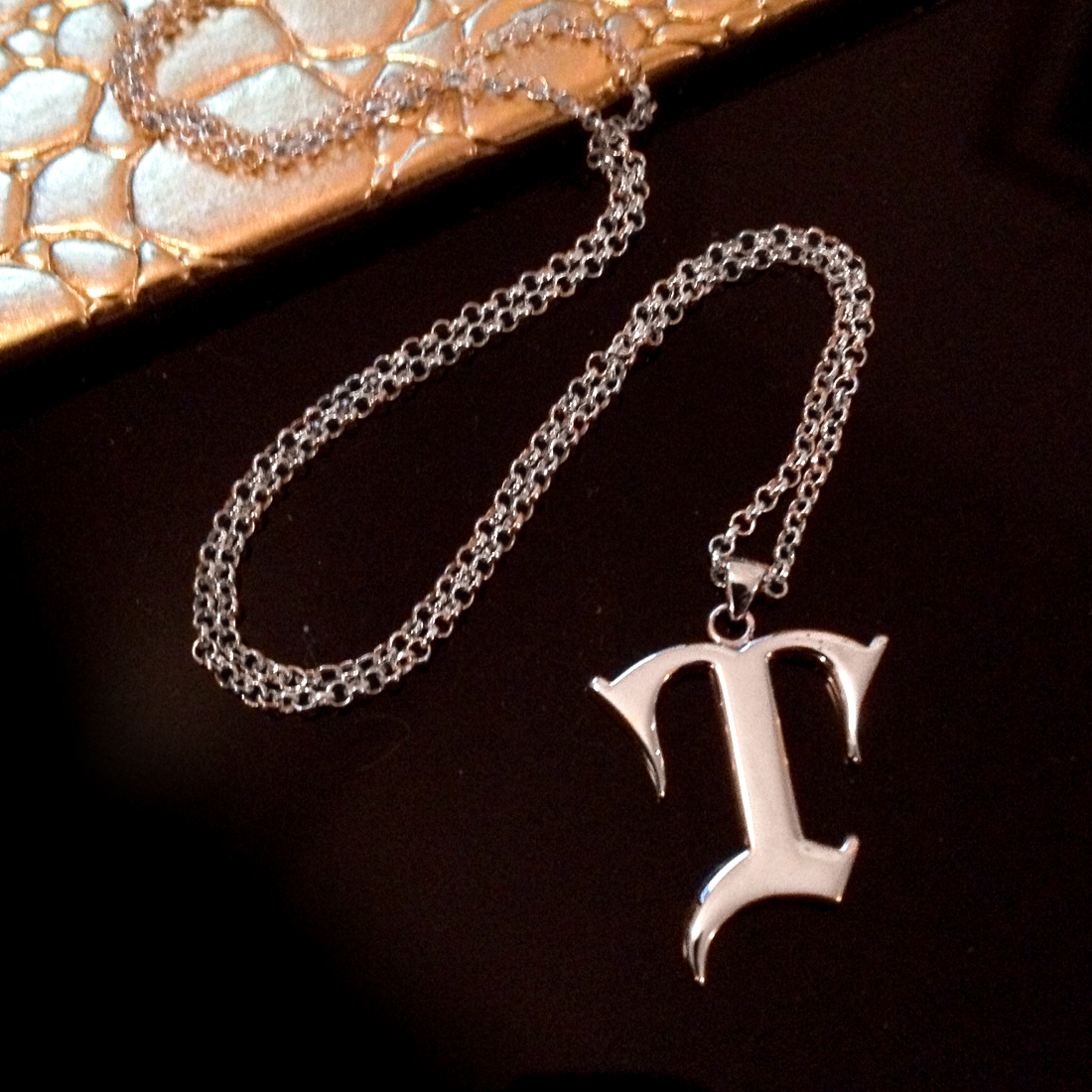 Custom silver initial necklace gothic T-2