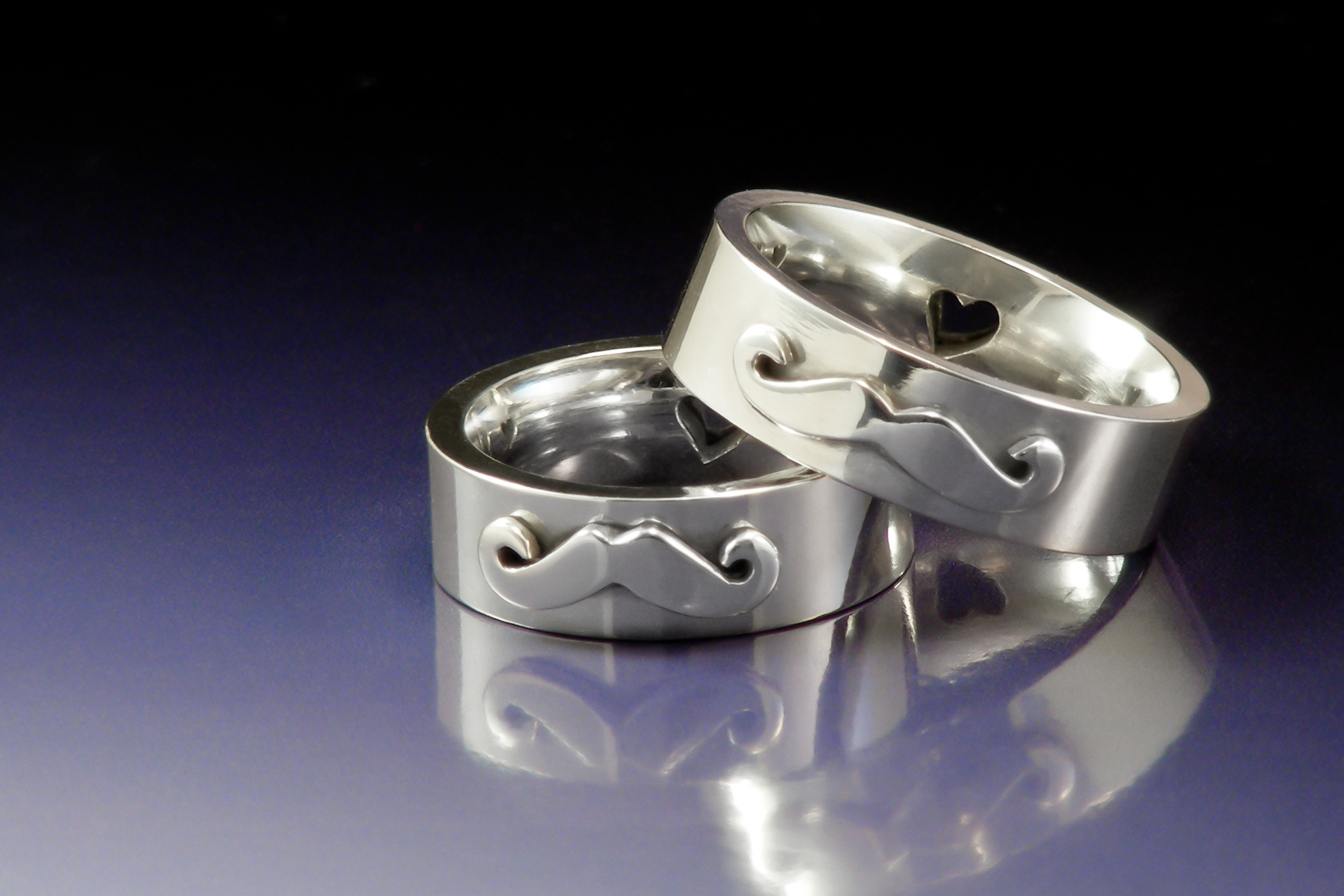 Sterling silver moustache rings