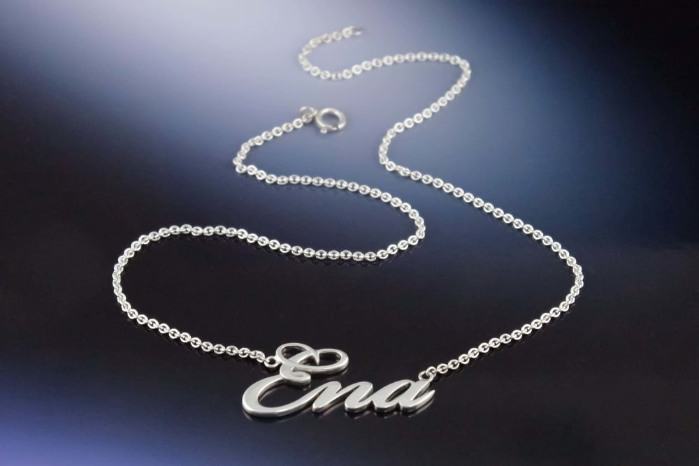 Silver Custom name necklace Ena