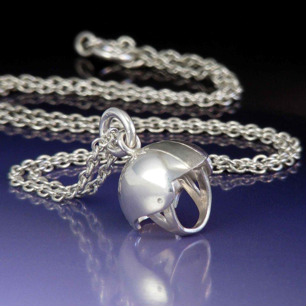 Silver pivot helmet necklace roller derby
