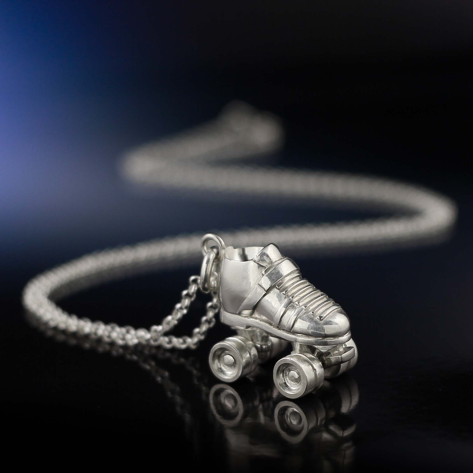 Silver roller derby necklace