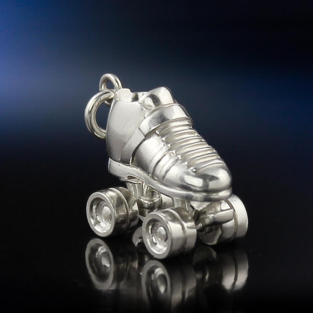 Silver roller derby skate charm