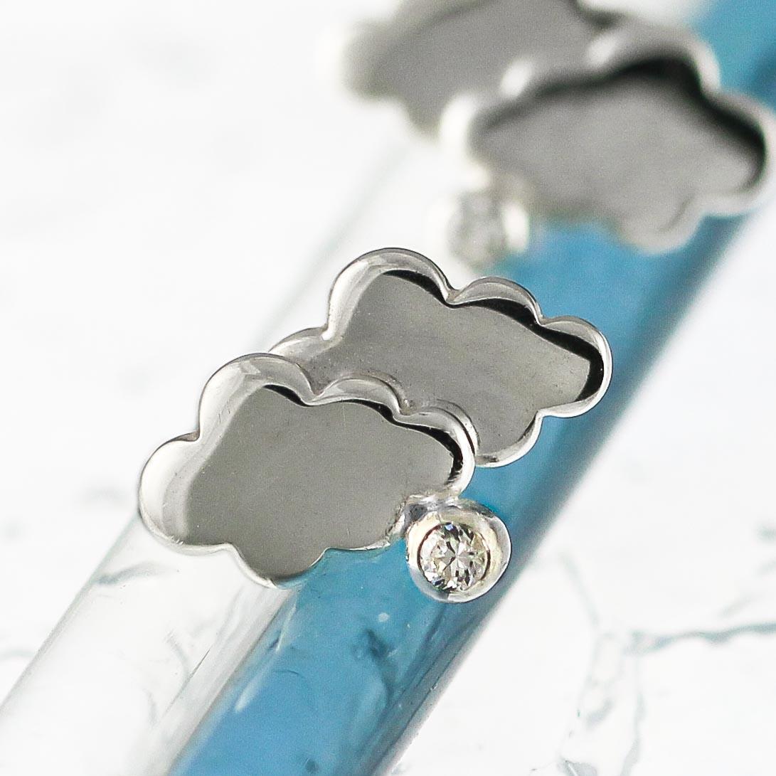 Silver mini cloud rain stud earrings-2