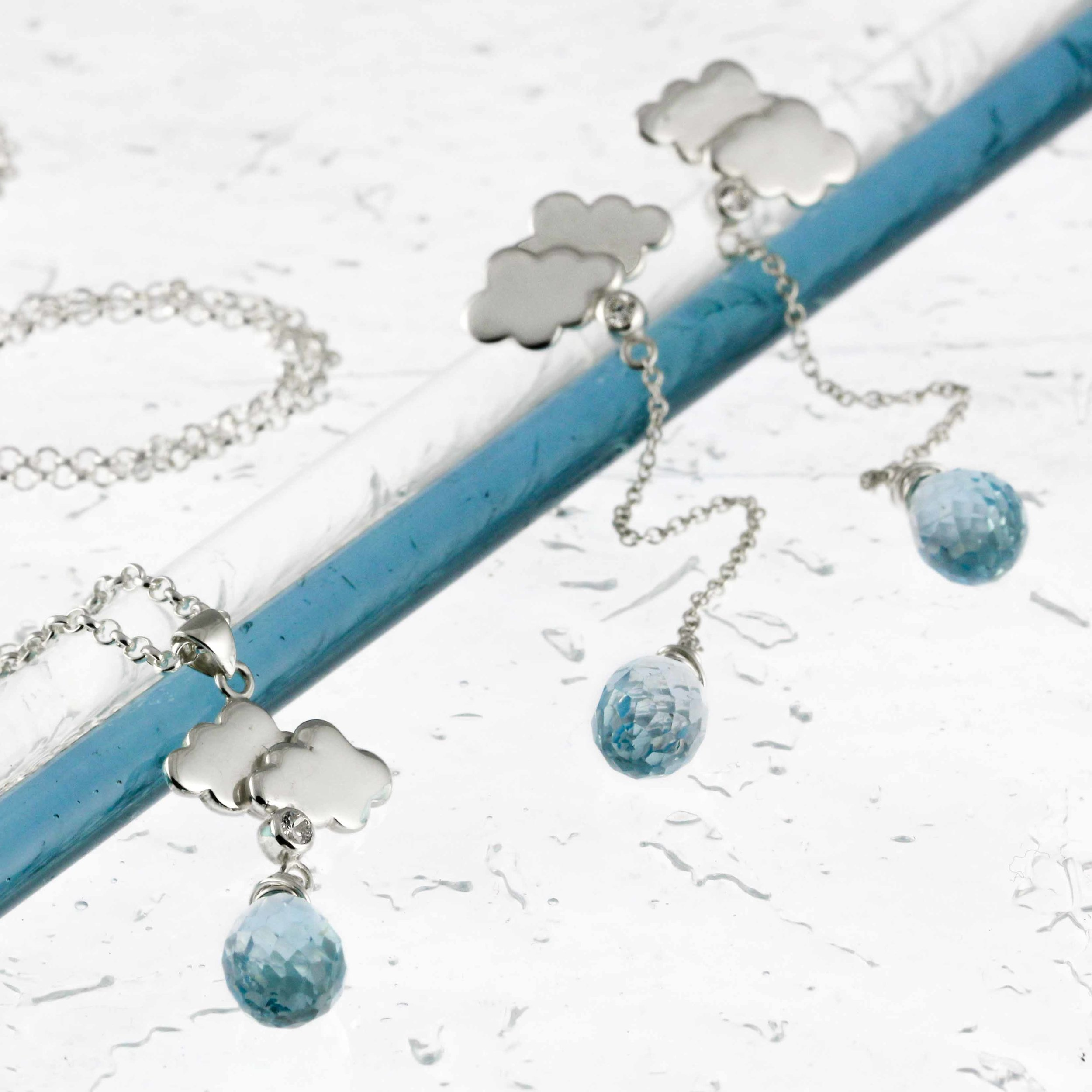 Sterling silver mini rain cloud earrings and necklace-4
