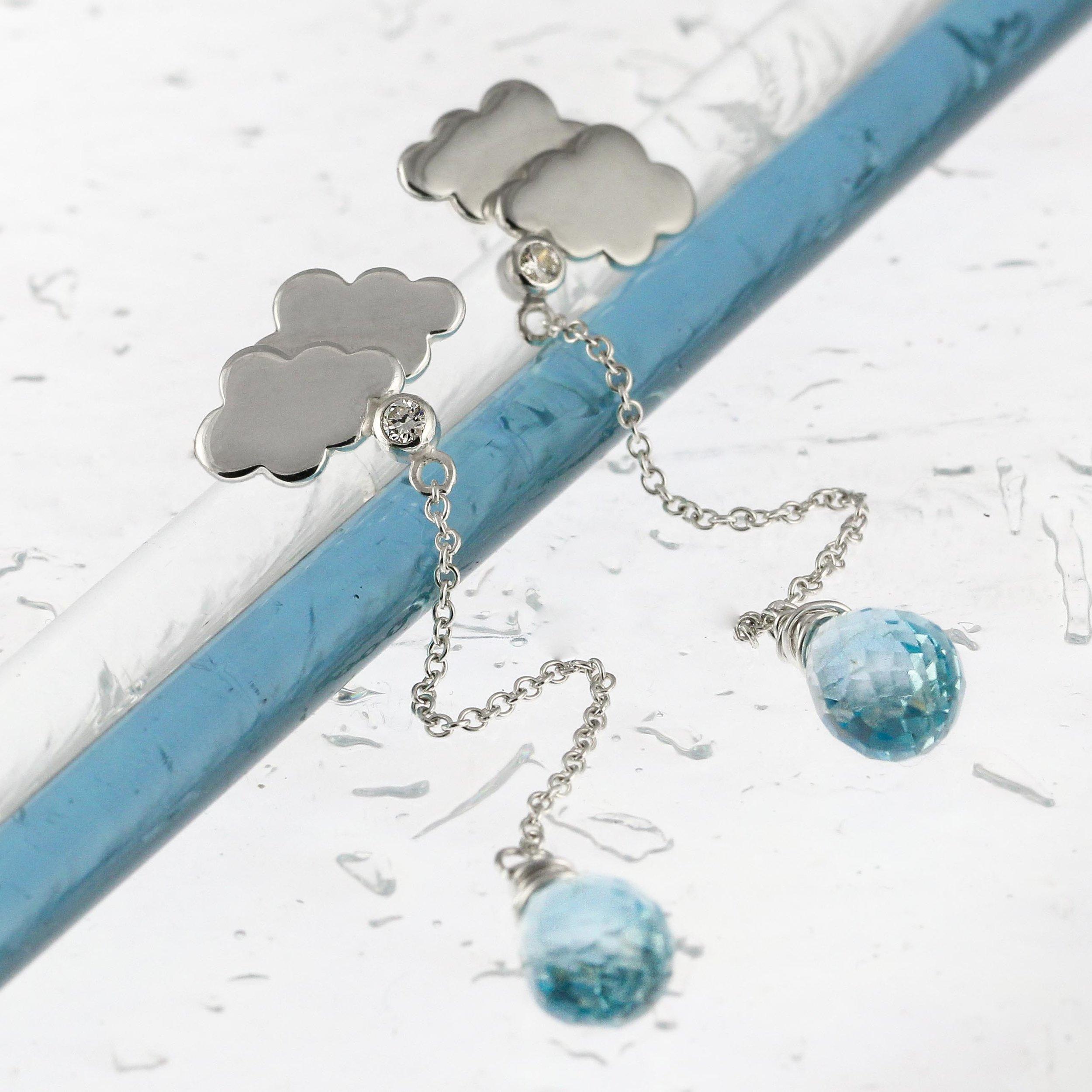 Sterling silver rain cloud earrings blue topaz drops