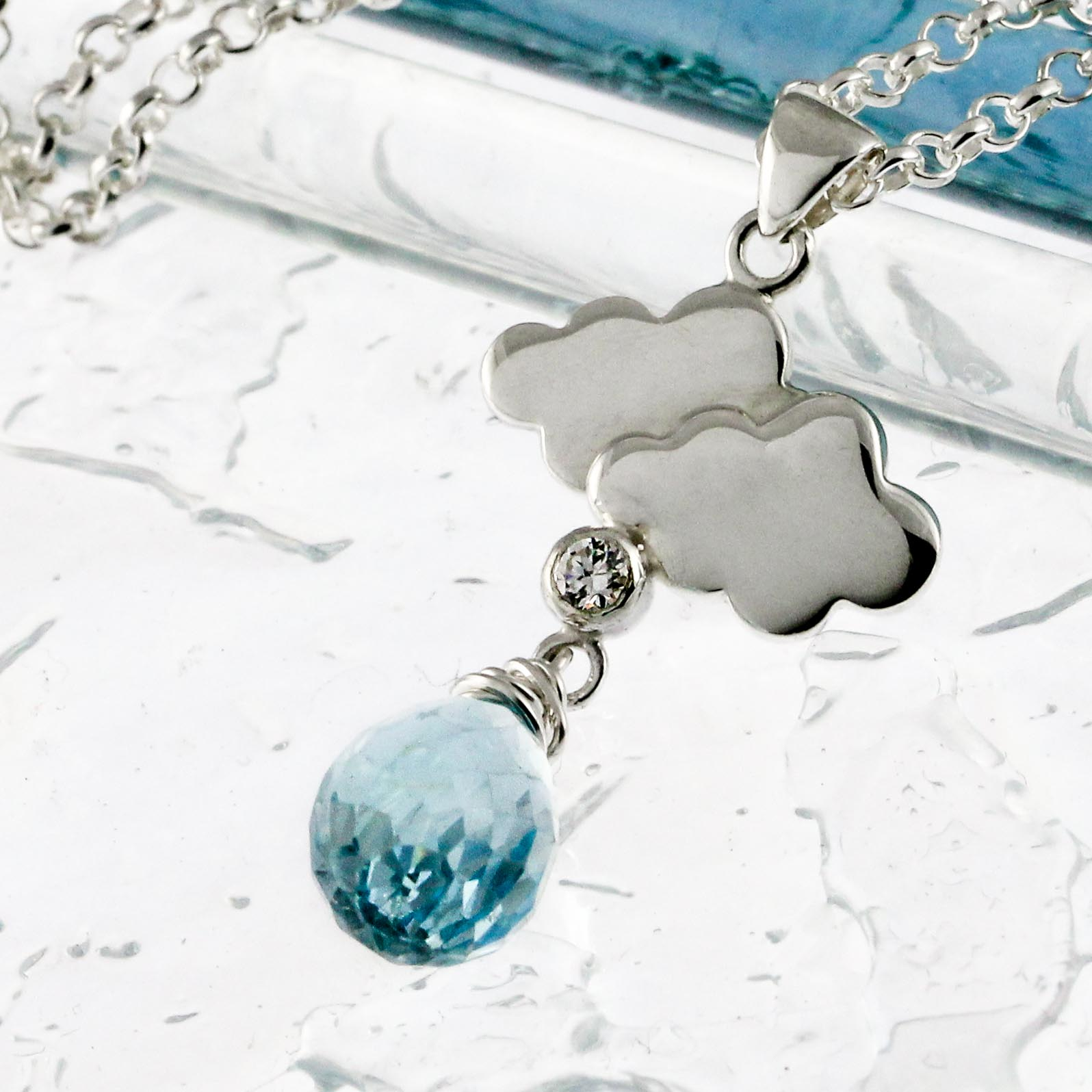 Sterling silver rain clouds blue topaz necklace-3