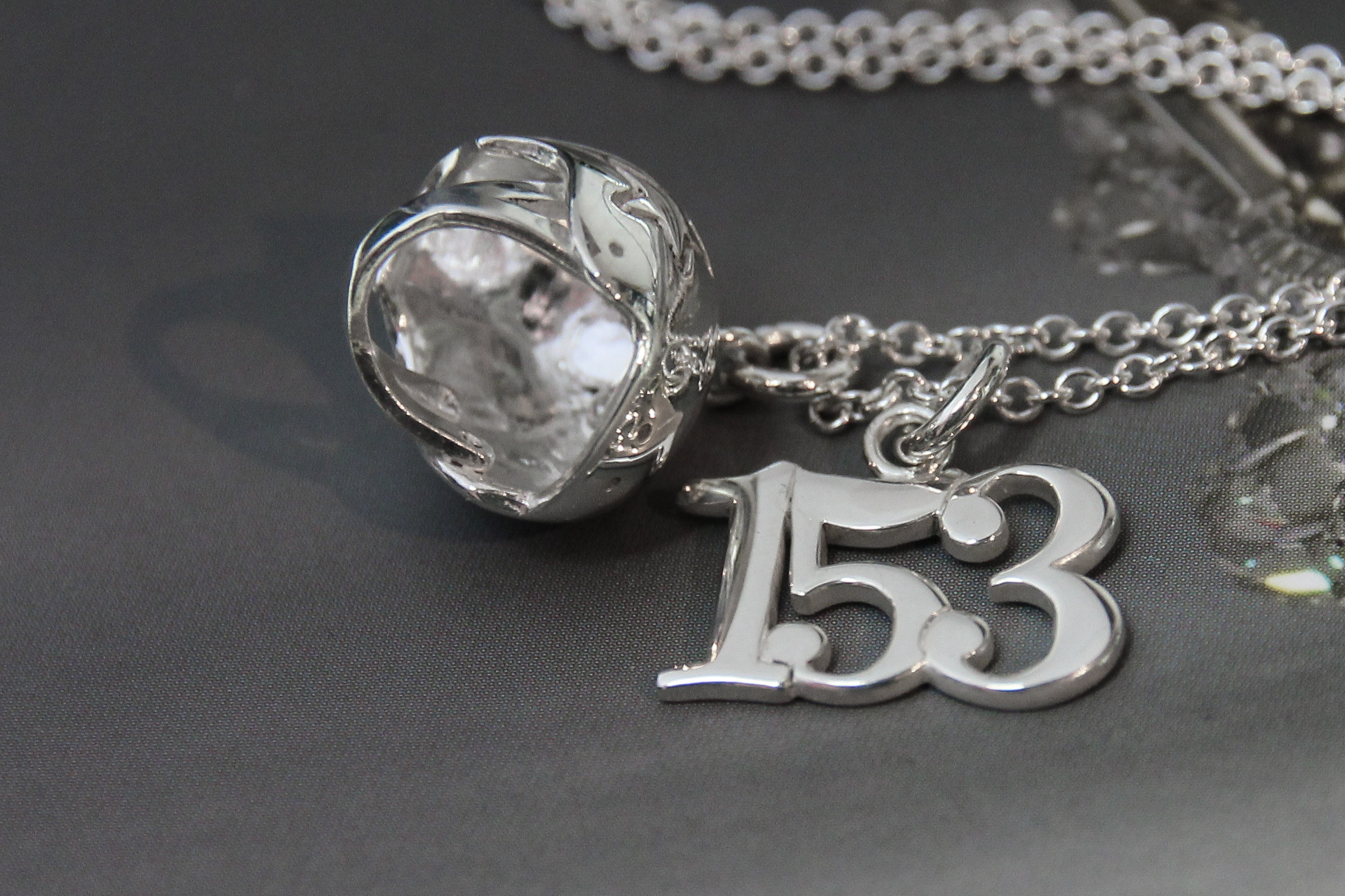 Silver custom jammer helmet necklace 153