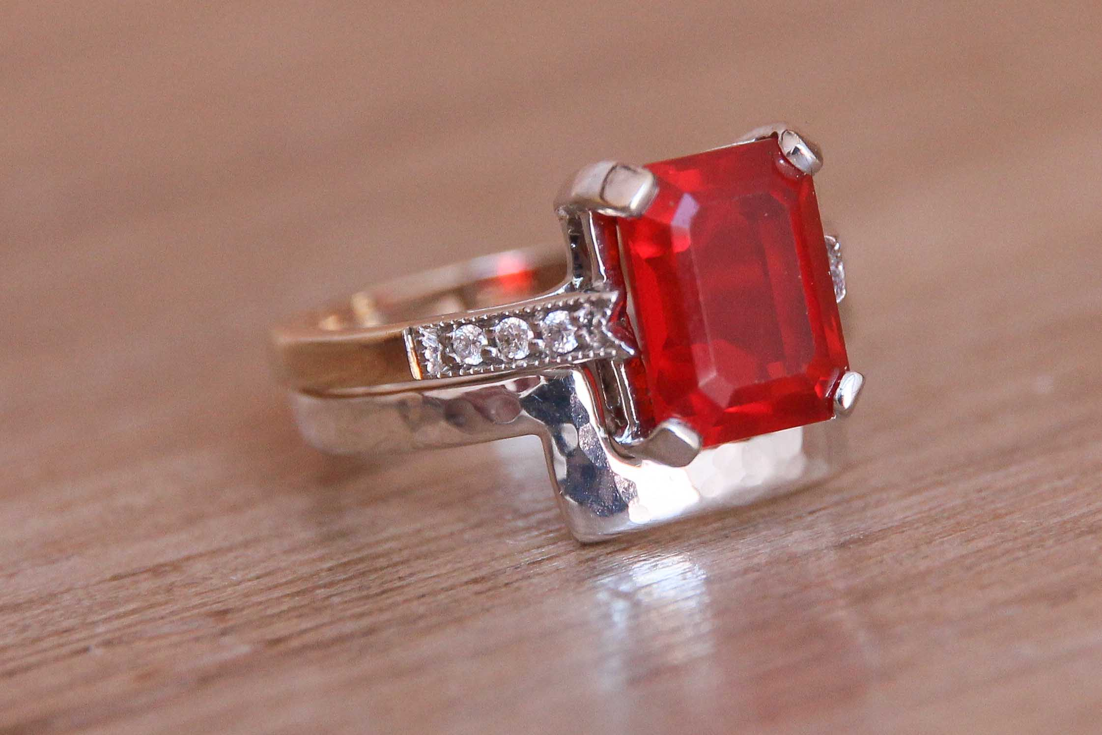 Emerald cut engagement ring shaped wedding ring