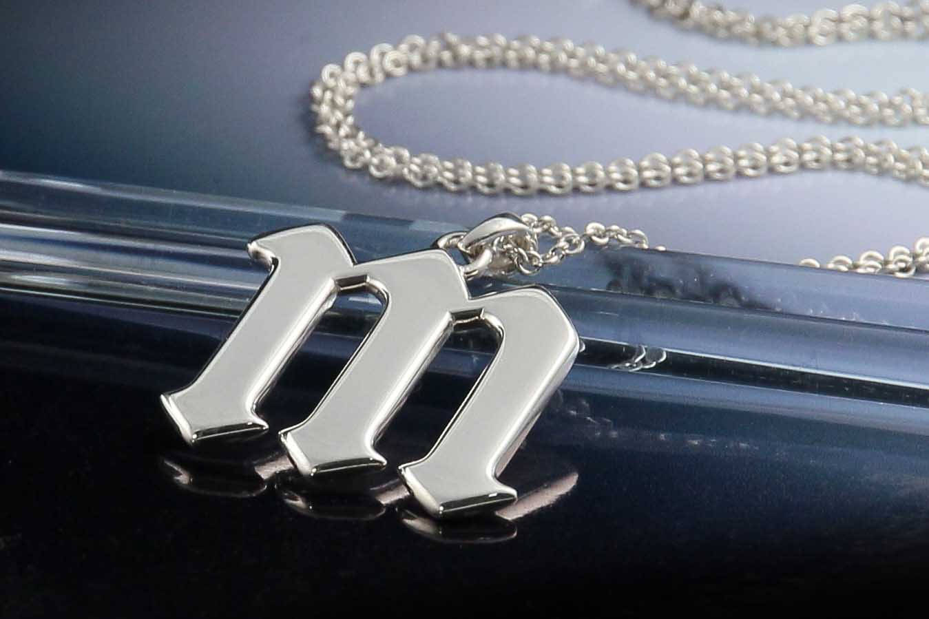 Silver gothic Miley M necklace