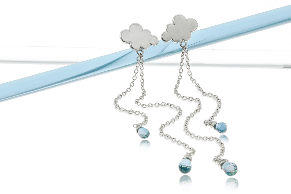Sterling silver British weather raincloud earrings