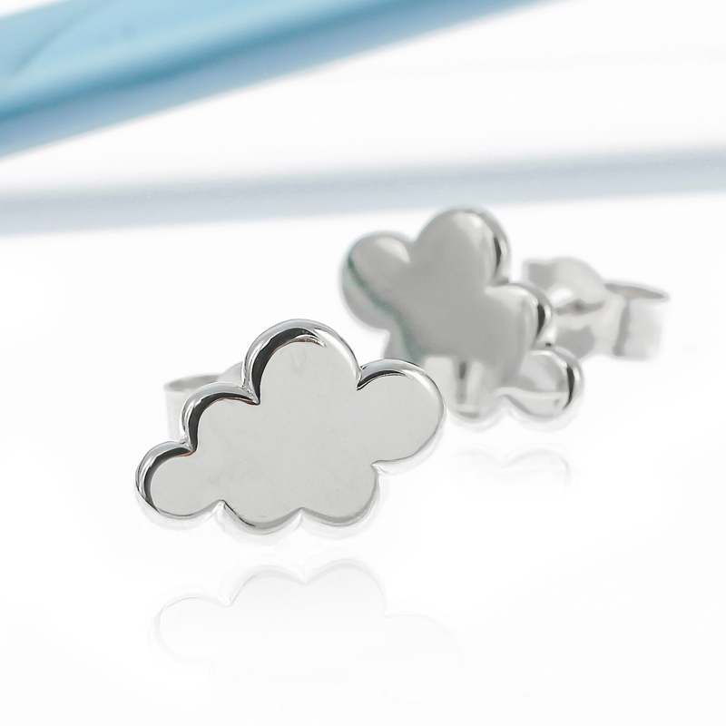 Sterling silver cloud stud earrings