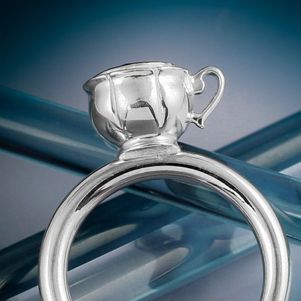 Silver gemstone tea cup ring 1