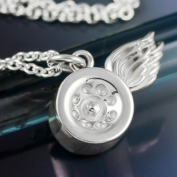 Silver roller derby skate wheel winged necklace