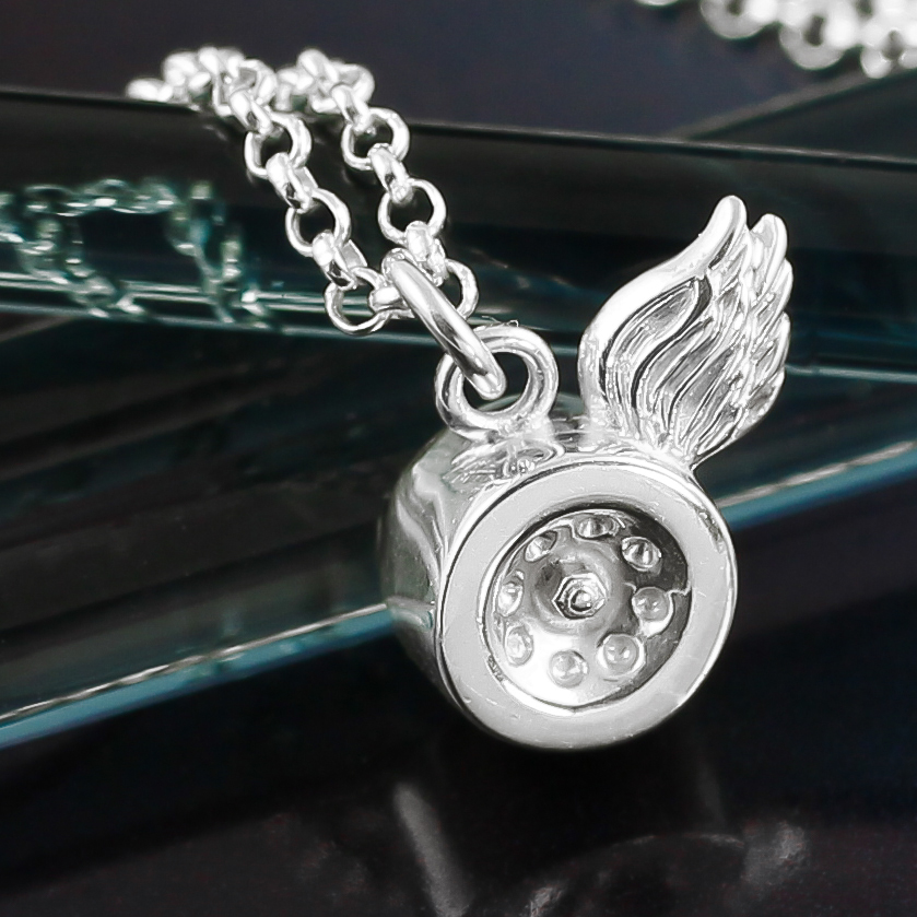 Silver winged roller skate wheel necklace small