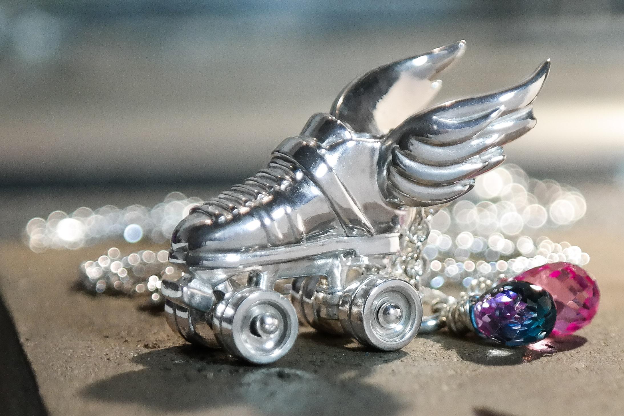 Silver custom roller derby skate necklace gemstones
