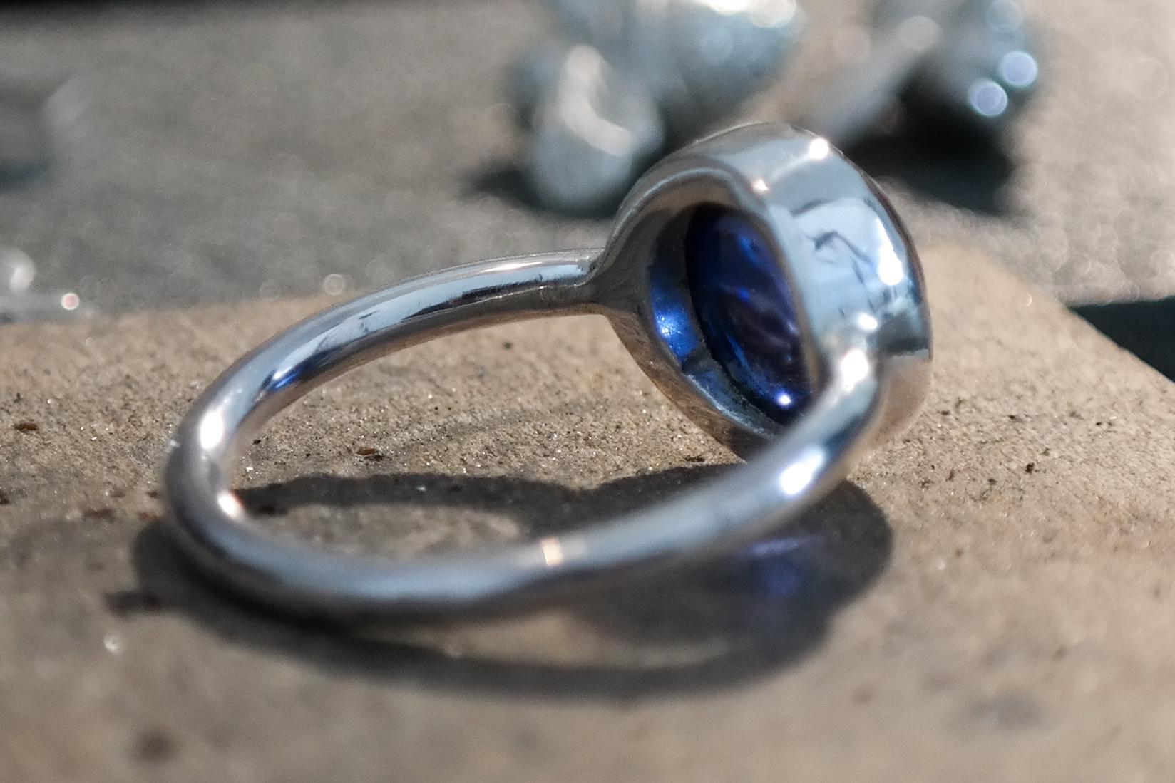 Silver sapphire cabochon ring