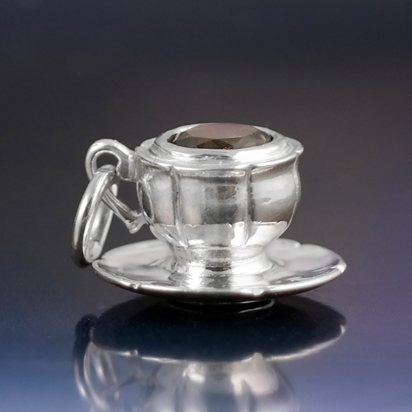 Silver teacup and saucer charm