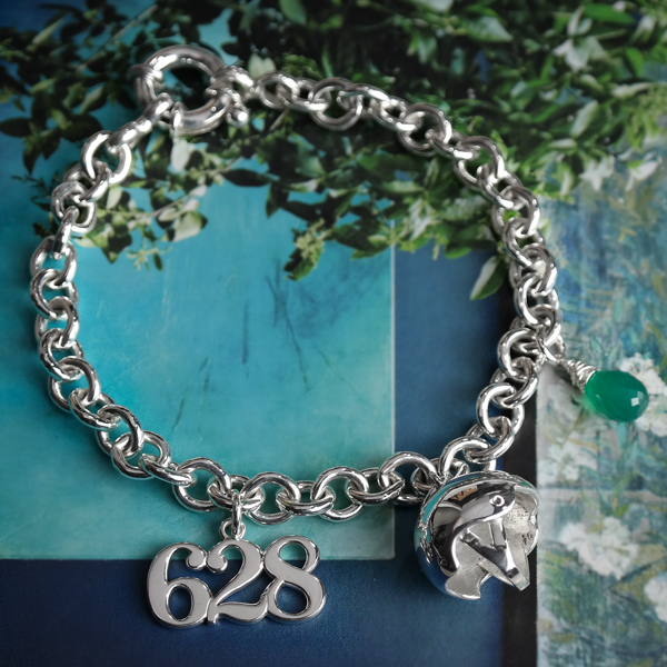 sterling silver custom roller derby charm bracelet
